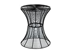 Round Metal Accent Table  -Black