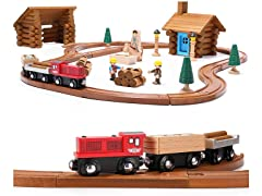 Wooden Train Set with Log Cabin Blocks