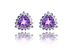 SS Genuine Amethyst & Tanzanite Earrings