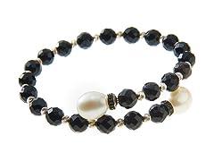 SS Black Onyx Bead & Freshwater Pearl Cuff Bracelet