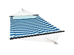 Sunnydaze 2-Person Quilted Fabric Hammock with Spreader Bars and Detachable Pillow