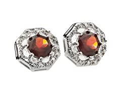 SS Octagon 8-Prongs Garnet Gemstone w/Diamond Studs