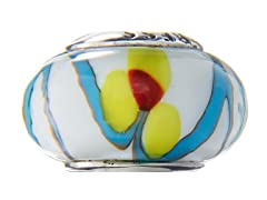 Yellow, Blue & White Glass Bead