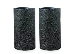 ENJOY Black Glitter 3x6 3 LED Pillar w/Timer - 2 PK