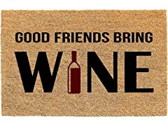 Printed Coir Welcome Mat, Good Friends Bring Wine