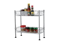 2 TIER STANDING WIRE BASKET CHROME