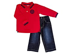 2-Pc Red L/S Solid Polo Set (12M-24M)