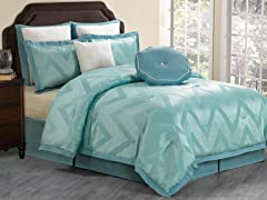 Behrakis 8Pc Comforter Set-Teal- Queen