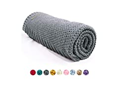 mimixiong Knit Baby Blanket in Grey