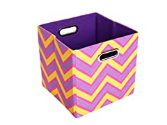 Zig Zag Canvas Folding Storage Bin