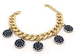 Blue Circle Crystal Pave Cuban Chain Bracelet