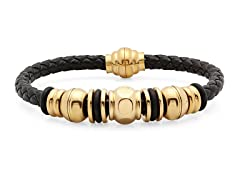 Braided Leather Bracelet w/ 18kt Accent
