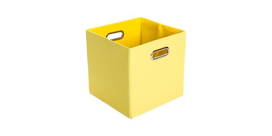 Square Collapsible Canvas Storage Box Foldable Kids Toys: Yellow Canvas Folding Storage Bin