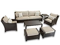 8-Piece Sofa and Ottoman Set, Slate
