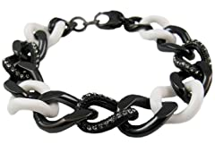 Black Stainless Steel & White Ceramic Cuban Link Bracelet w/ Swarovski Crystals