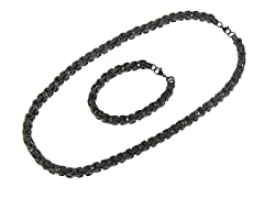 All Black Ion Plated Bracelet & Necklace