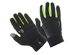 Nike Mens Thermal Run Gloves, Black/Volt