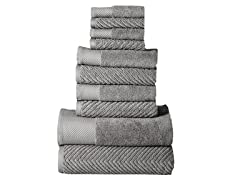 Elegance Spa 100% Cotton Jacquard 10-Piece Towel Set