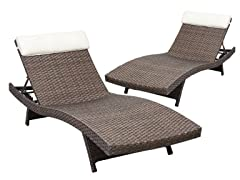 2-Piece Tahiti Wicker Lounger Set