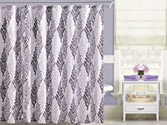 Embossed Shower Curtain - Magnolia Purple