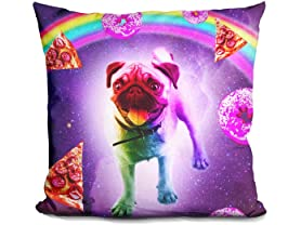 Rainbow Space Pug With Pizza And Doughnut Pillow