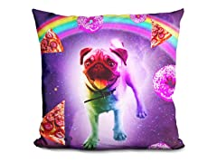 Rainbow Space Pug With Pizza Pillow