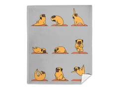 """Pug Yoga"" Mink Fleece Blanket"