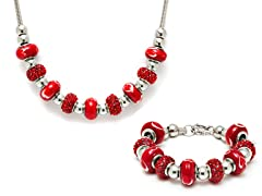 Stainless Steel Red Mix Charm Set