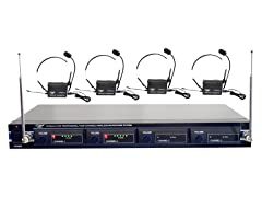 4 Mic VHF Rack Mount Wireless Headset System