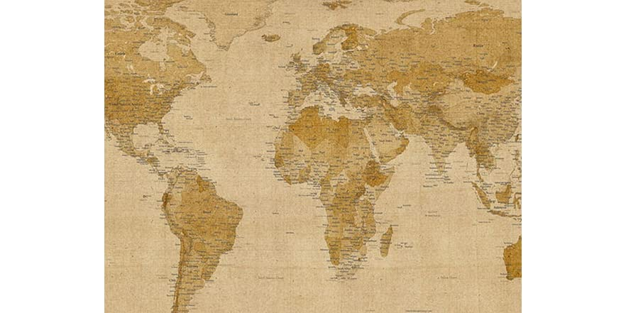 Antique world map 18x24 canvas world map 7 antique and large fabric antique world map 18x24 canvas gumiabroncs Choice Image