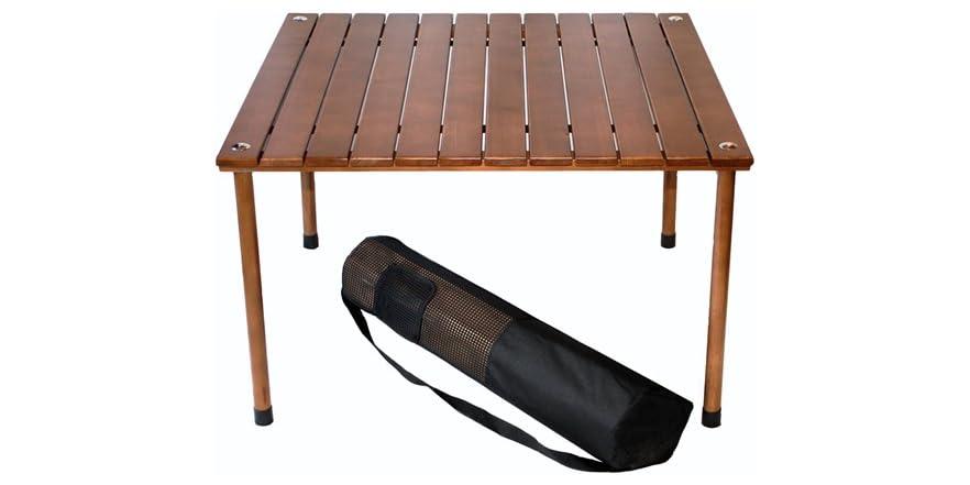 low wood portable table carry bag brown. Black Bedroom Furniture Sets. Home Design Ideas