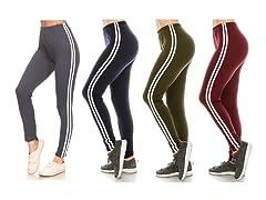 Women's Side Stripe Stretch Leggings 3Pk