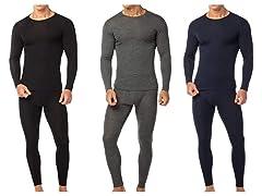 4-Piece Men's Cotton Fleece Thermal Sets
