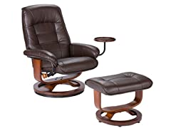 Bonded Leather Recliner & Ottoman-Brown