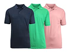 Galaxy by Harvic Men's Pique Polo 3-Pack