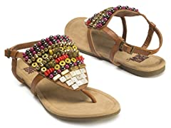 Harlow Beaded Sandals, Camel