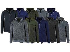 Men's Marled Fleece Zip Sweaters 3P