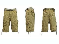 Belted Cargo Shorts, Slanted, 2 Colors