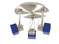 3-Light Satin Ceiling Mount, Blue