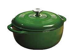 Lodge 6-Qt Cast Iron Dutch Oven, Green