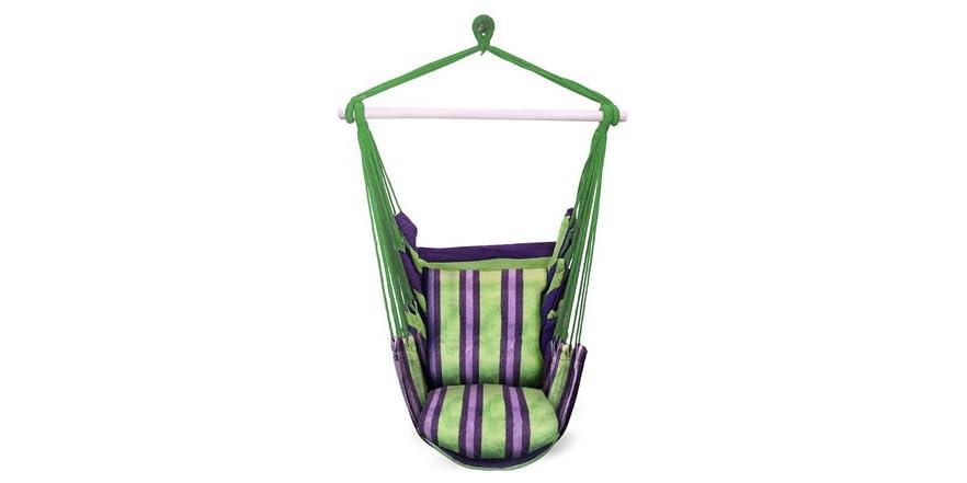 Hanging Rope Hammock Chair, Green/Purple