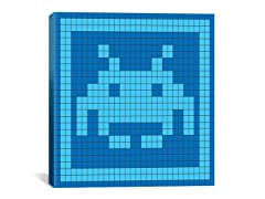 Blue Invader Tile Art 18x18 Thin