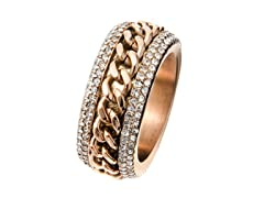 14k Rose Gold Plated Cuban Chain Ring