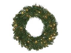 """Allegheny Fir 24"""" Wreath Prelit Clear"""