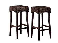 Pair Water Hyacinth Stools- Bar Stool