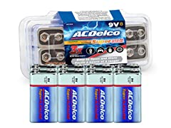ACDelco 9V 8 Pack Alkaline, 7 Years Shelf Life