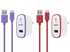 2.1A Wall Charger w/4ft Micro USB: 2Pk