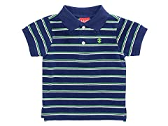 Navy Striped Pique Polo (12M-24M)