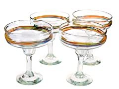 Rainbow Margarita Glasses - Set of 4