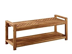 "48"" Chevron Acacia Patio Storage Bench"